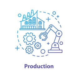 Production concept icon. Manufacturing. Industrial sector idea thin line illustration. Factory. Engineering. Vector isolated outline drawing