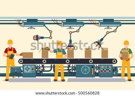 Production conveyor belt with vector factory operational people in uniform. Vector illustration