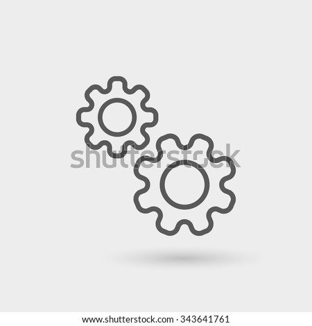 production icon isolated, thin line, black color with shadow