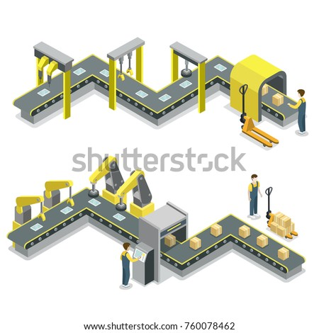 Production line isometric 3D concept set. Industrial goods production, mechanical belt conveyor with workers, manufacturing process. Factory equipment, robotic assembly line vector illustration.