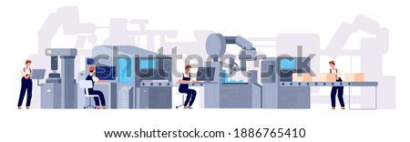 Production line. Manufacturing conveyor belt, industry machines and factory workers. Cartoon product assembly process utter vector concept