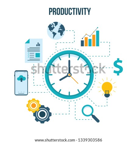 Productive management icon. Business productivity remind services save time employees forecast vector linear symbols isolated