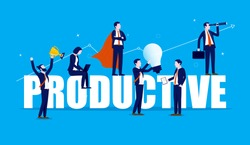 Productive teamwork - A team of businesspeople working on a big word with rising graph in background. Idea work, success, productivity, vision and efficiency concept. Vector illustration.