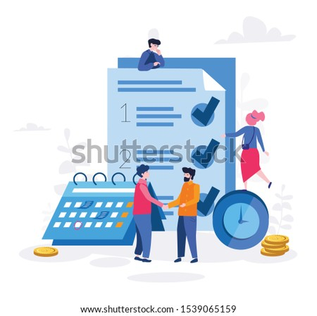 Productive time management Vector illustration.for web banner, infographics, mobile website. Landing page template. checklist, clock, business people, calendar.