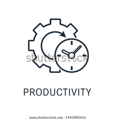 Productivity. Accounting for the time of the mechanism. Vector icon, white background.