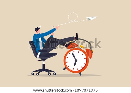 Productivity and efficiency in work, procrastination or time management or project deadline, best performance employee concept, smart relax businessman sitting on alarm clock launching paper airplane. Сток-фото ©