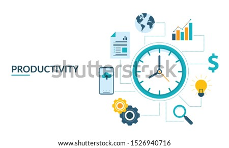Productivity Concept. Tools for Increasing Business Profit and Finance Success.Vector Productive Illustration with icons for search, bulb / idea, dollar, bar garph, statistics, globe, document, mobile