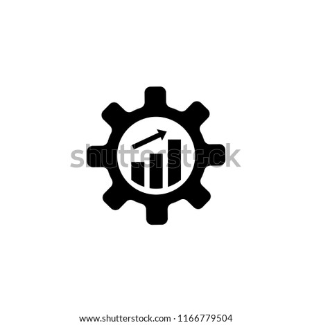 Productivity, Gear Cog with Growing Graph. Flat Vector Icon illustration. Simple black symbol on white background. Productivity, Gear Cog with Graph sign design template for web and mobile UI element