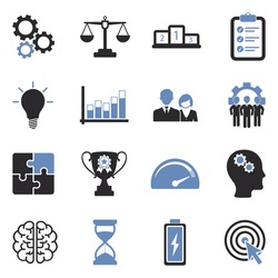 Productivity Icons. Two Tone Flat Design. Vector Illustration.