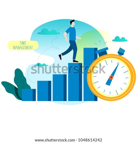 Productivity increase, time management, business optimization, progress planning, efficiency flat vector illustration for mobile and web graphics