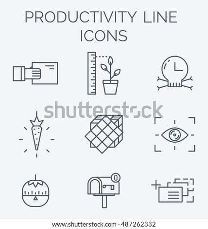 Productivity line icon set. High productivity, success business workflow and time management symbols. Timer and motivation emblems.