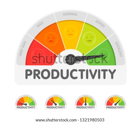 Productivity meter with different emotions. Measuring gauge indicator vector illustration. Black arrow in coloured chart background.