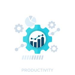 productivity, productive capacity, performance analytics vector illustration
