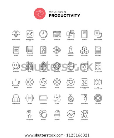 Productivity. Set of pixel-perfect icon. Thin line style. Variety of visual metaphors suitable for wide range of uses. Vector illustration.