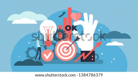 Productivity vector illustration. Flat tiny work efficiency persons concept. Creative solution management for success organization strategy. Performance development planning to increase tasks quality.