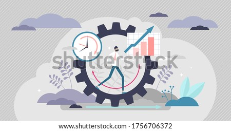 Productivity vector illustration. Job performance flat tiny persons concept. Efficient time and task management strategy for business growth progress and development. Dynamic work success elements. Foto stock ©