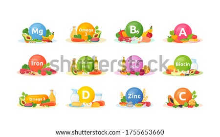 Products rich of vitamins, minerals for health cartoon vector illustrations set. Balanced diet flat color object. Vitamin A, B6, D. Good nutrition. Healthy eating isolated on white background