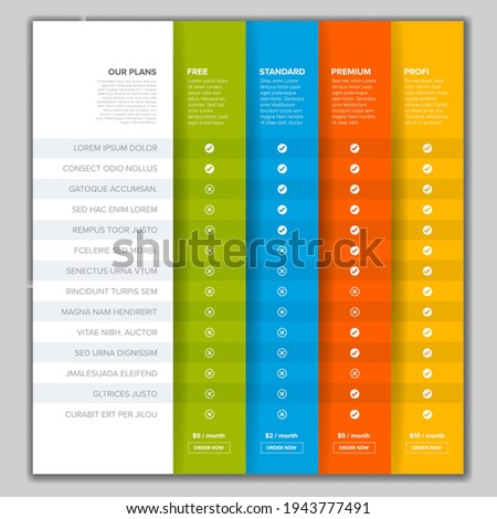 Products service feature compare list table template with various options, description, features and prices. Subscription product plans pricing table light template. Price table for free standard  Photo stock ©