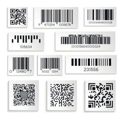 Products sticker with cipher or serial number or barcodes isolated icons vector. Supermarket scan code ,bars and qr coding, price tag element. Black labels and hiden industrial information or data