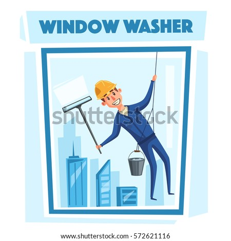 Profesional worker cleaning windows. Cartoon vector illustration