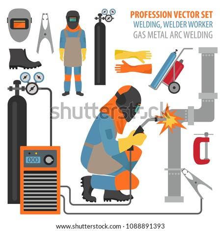 Profession and occupation set. Metal welding equipment, gas cutting flat design icon.Welder worker. Vector illustration