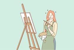 Profession, art, work, creativity concept. Young happy smiling woman girl artist cartoon character works with paintbrush draws paintings or pictures. Creative occupation or leisure hobby illustration.