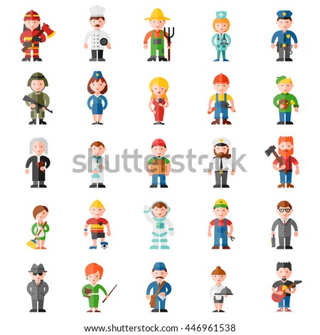 profession flat icon set