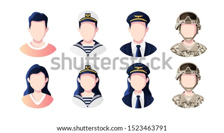 Profession, occupation people avatars set. Pilot, sailor, soldier. Profile picture icons. Male and female faces. Cute cartoon modern simple design. Flat style vector illustration.