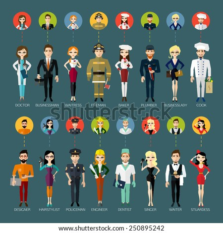 Profession people and avatars collection. Cartoon different characters and different clothes. Flat style design. Vector illustration.