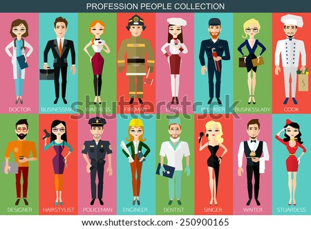 Profession people collection. Cartoon different characters and different clothes. Flat style design icons set for web and mobile applications. Vector illustration.