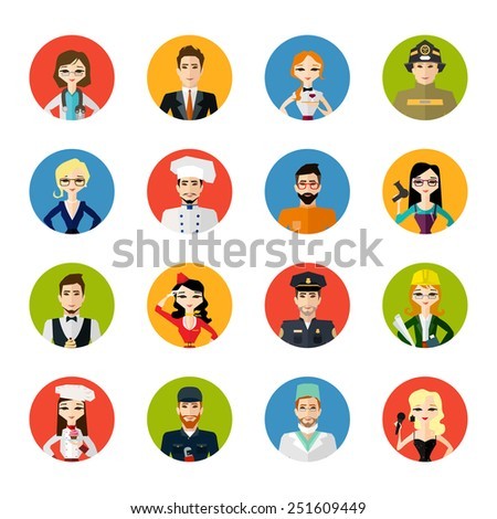 Profession people collection isolated on white background. Cartoon different characters and different clothes. Flat style design icons set for web and mobile applications. Vector illustration.