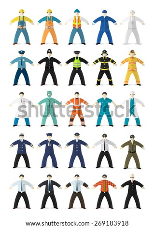 Profession people. Different characters made in cartoon flat style. Vector illustration.