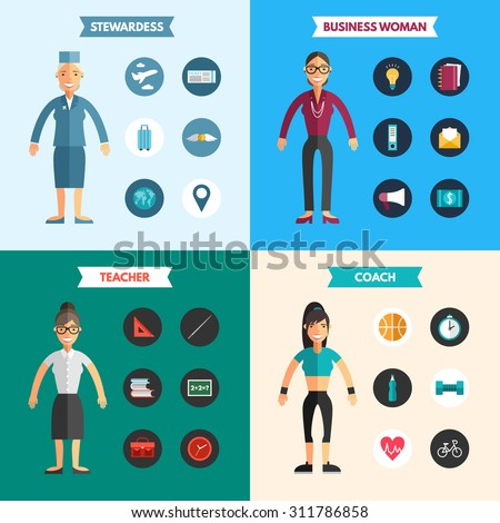 Profession People. Stewardess. Business Woman. Coach. Teacher. Set of Flat Style Vector Infographic Design Elements