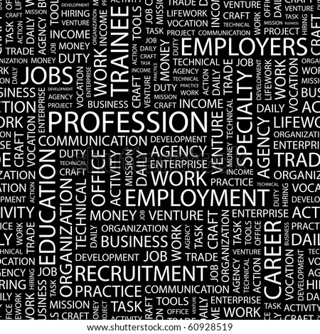 PROFESSION. Seamless vector background. Illustration with different association terms.