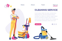 Profession Service Supply Work. Cleaner Web Floor Page. Professional Home Vacuum Set. Mess Template Sweeping Banner. Isometric Cartoon Flat Vector Illustration Isolated on White Background Concept.