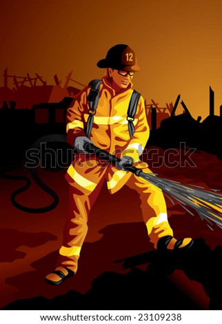 Profession set brave fire fighter at work more professions in our