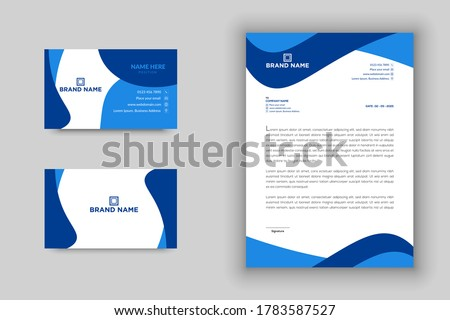 Professional and modern blue color business card and letterhead template vector format, creative business card, letterhead, stationary template, modern business card, modern letterhead, stationary