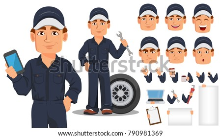 Professional auto mechanic cartoon character creation set. Expert service worker. Build your personal design. Vector illustration