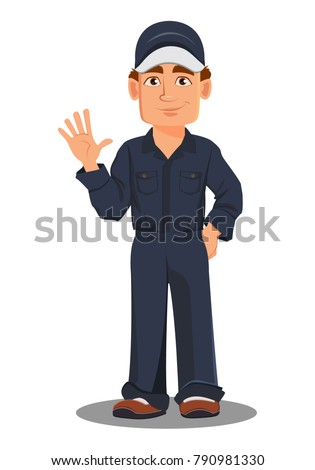Professional auto mechanic in uniform. Smiling cartoon character waving hand. Expert service worker. Vector illustration