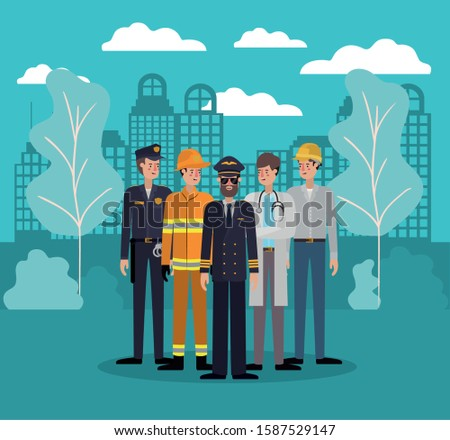 Professional avatars men design, Working occupation person job corporate employee and service theme Vector illustration
