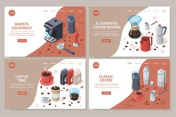 Professional barista coffee equipment set of isometric web site cards with coffee machine cups and packs vector illustration