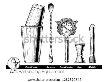 Professional bartender kit set. Cocktail shaker, bar spoon, Hawthorne strainer, Jigger and Muddler. Vector hand drawn illustration of bartending equipment in vintage engraved style. isolated on white