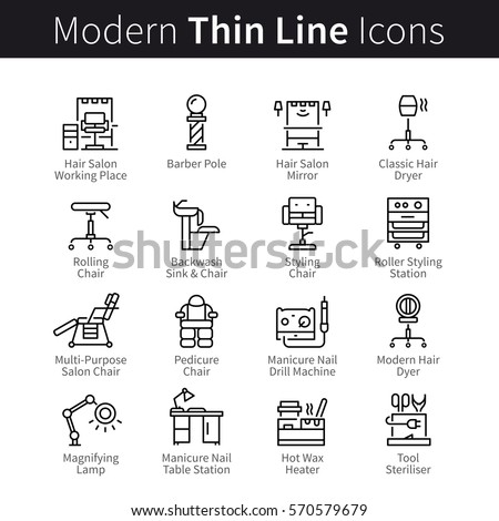 Professional beauty salon set. Furniture, tools, supplies and equipment for hairdo, makeup, manicure & pedicure. Thin black line art icons. Linear style illustrations isolated on white.