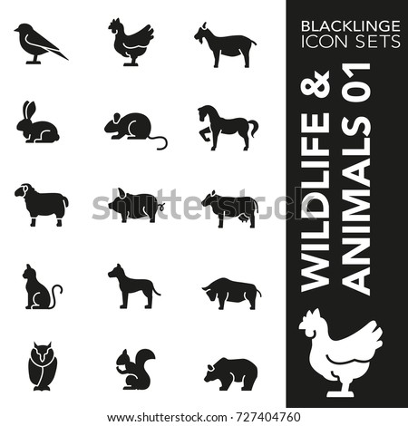Professional black and white icons of animal, wildlife and pets. Blacklinge are the best pictogram pack unique design for all dimensions and devices. Vector graphic logo symbol and website content.