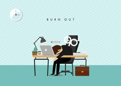 professional burnout concept illustration with exhausted male office worker sitting at the table. Frustrated worker, mental health problems. Vector illustration in flat style.