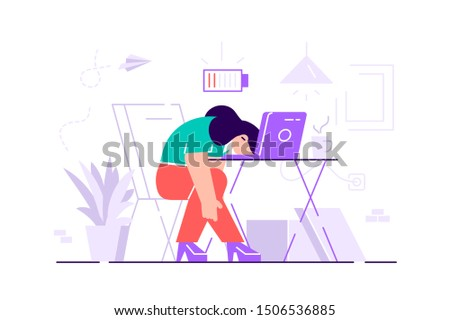 Professional burnout. Long working day. Millennials at work. Flat vector illustration. Exhausted young female manager at work sitting at the table in office with head down and low battery icon above.