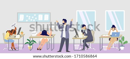 Professional burnout syndrome concept vector flat illustration. Boss with his team characters feeling burned out at work. Exhausted, tired people at workplace. Job burnout, physical and mental health.
