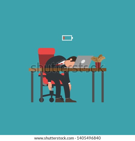 Professional burnout syndrome. Exhausted male manager at work sitting at the workplace with head down and low battery icon above. Flat vector illustration, business concept of overload, tiredness.
