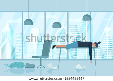 Professional burnout syndrome. Exhausted sick boring female manager in office lies with head down on table. Frustrated worker mental health problems. Vector long work stress day illustration