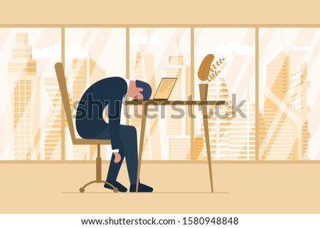 Professional burnout syndrome. Exhausted tired male employee in office sad boring sitting head down on laptop. Frustrated worker man mental health problems. Vector long work stress day illustration